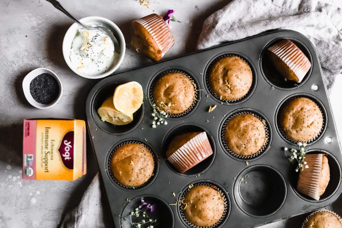 Lemon Poppy Echinacea Immune Support Muffins | Yogi Tea